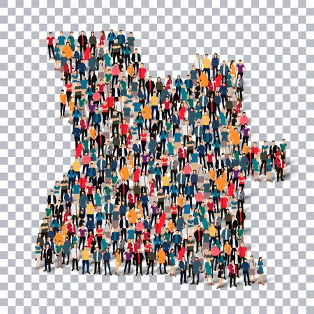 Isometric set of styles, people, map of Angola , country, web infographics concept of crowded space, flat 3d. Crowd point group forming a predetermined shape. Creative people. illustration. Photo .3D illustration. Transparent background . Isolated.