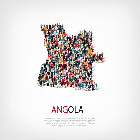 Isometric set of styles, people, map of Angola , country, web infographics concept of crowded space, flat 3d. Crowd point group forming a predetermined shape. Creative people. illustration. Photo .3D illustration. White background . Isolated.