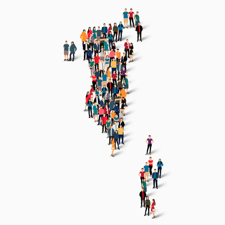 Isometric set of styles, people, map of Bahrain , country, web infographics concept of crowded space, flat 3d. Crowd point group forming a predetermined shape. Creative people. illustration. Photo .3D illustration. White background . Isolated. Illustration