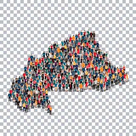 Isometric set of styles, people, map of Burkina Faso , country, web infographics concept of crowded space, flat 3d. Crowd point group forming a predetermined shape. Creative people. illustration. Photo .3D illustration. Transparent background . Isolated. Illustration