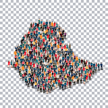 Isometric set of styles, people, map of Ethiopia , country, web infographics concept of crowded space, flat 3d. Crowd point group forming a predetermined shape. Creative people. illustration. Photo .3D illustration. Transparent background . Isolated. Illustration
