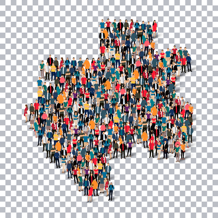 Isometric set of styles, people, map of Gabon , country, web infographics concept of crowded space, flat 3d. Crowd point group forming a predetermined shape. Creative people. illustration. Photo .3D illustration. Transparent background . Isolated. Illustration