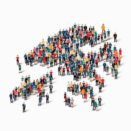 Isometric set of styles, people, map of Hong Kong, country, web infographics concept of crowded space, flat 3d. Crowd point group forming a predetermined shape. Creative people. Vector illustration. Photo vector.3D illustration. White background . Isolate