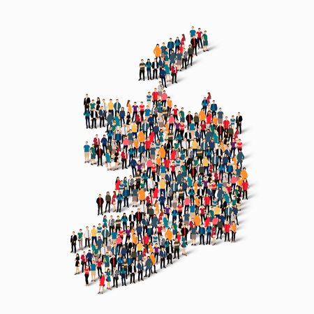 Isometric set of styles, people, map of Ireland , country, web infographics concept of crowded space, flat 3d. Crowd point group forming a predetermined shape. Creative people. Vector illustration. Photo vector.3D illustration. White background . Isolated Illustration