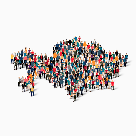 kazakhstan: Isometric set of styles, people, map of Kazakhstan , country, web infographics concept of crowded space, flat 3d. Crowd point group forming a predetermined shape. Creative people. Vector illustration. Photo vector.3D illustration. White background . Isola Illustration