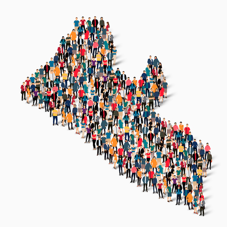Isometric set of styles, people, map of Liberia , country, web infographics concept of crowded space, flat 3d. Crowd point group forming a predetermined shape. Creative people. Vector illustration. Photo vector.3D illustration. White background . Isolated Illustration