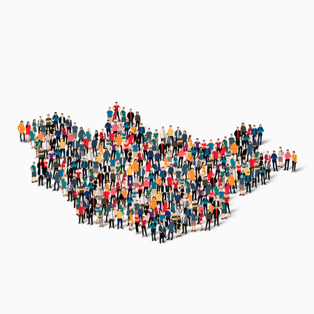 mongolia: Isometric set of styles, people, map of Mongolia , country, web infographics concept of crowded space, flat 3d. Crowd point group forming a predetermined shape. Creative people. illustration. Photo .3D illustration. White background . Isolated.