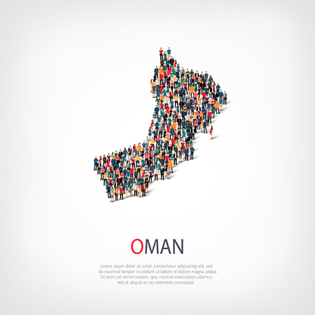 Isometric set of styles, people, map of Oman , country, web infographics concept of crowded space, flat 3d. Crowd point group forming a predetermined shape. Creative people. illustration. Photo .3D illustration. White background . Isolated.