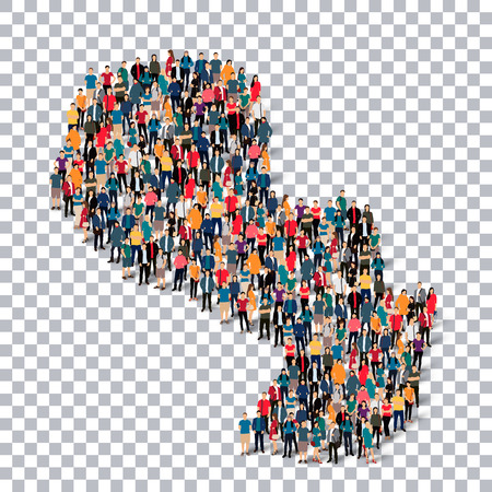 Isometric set of styles, people, map of Paraguay , country, web infographics concept of crowded space, flat 3d. Crowd point group forming a predetermined shape. Creative people. illustration. Photo .3D illustration. Transparent background . Isolated.
