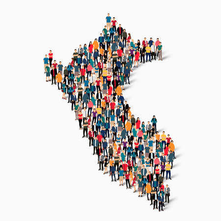 Isometric set of styles, people, map of Peru , country, web infographics concept of crowded space, flat 3d. Crowd point group forming a predetermined shape. Creative people. illustration. Photo .3D illustration. White background . Isolated.
