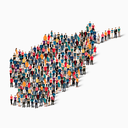 Isometric set of styles, people, map of Afganistan , country, web infographics concept of crowded space, flat 3d. Crowd point group forming a predetermined shape. Creative people.  illustration. Photo .3D illustration. White background . Isolated.
