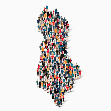 Isometric set of styles, people, map of Albania , country, web infographics concept of crowded space, flat 3d. Crowd point group forming a predetermined shape. Creative people.  illustration. Photo .3D illustration. White background . Isolated. Stock Photo
