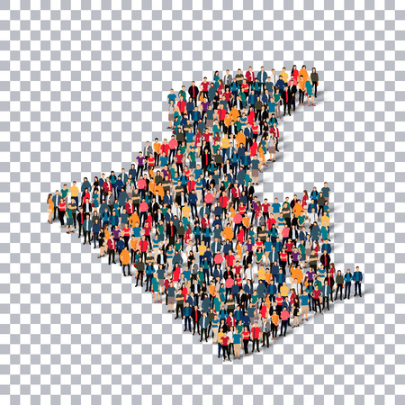 Isometric set of styles, people, map of algeria, country, web infographics concept of crowded space, flat 3d. Crowd point group forming a predetermined shape. Creative people.  illustration. Photo .3D illustration. Transparent background . Isolated.