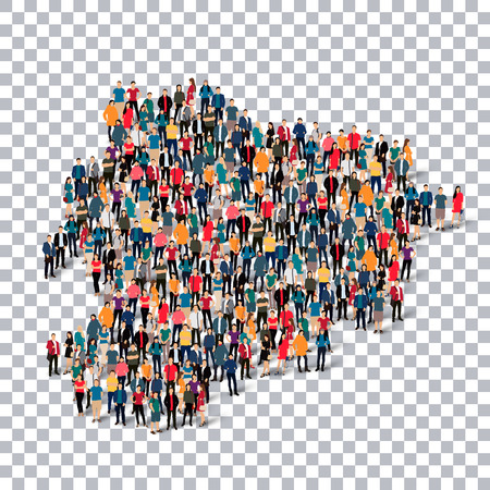 crowded space: Isometric set of styles, people, map of Andorra , country, web infographics concept of crowded space, flat 3d. Crowd point group forming a predetermined shape. Creative people.  illustration. Photo .3D illustration. Transparent background . Isolated.