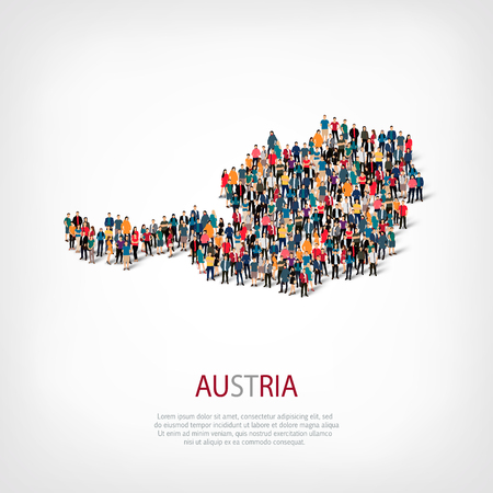 Isometric set of styles, people, map of austria, country, web infographics concept of crowded space, flat 3d. Crowd point group forming a predetermined shape. Creative people.  illustration. Photo .3D illustration. White background . Isolated. Stock Photo