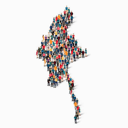 Isometric set of styles, people, map of Burma , country, web infographics concept of crowded space, flat 3d. Crowd point group forming a predetermined shape. Creative people.  illustration. Photo .3D illustration. White background . Isolated.