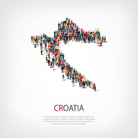 Isometric set of styles, people, map of Croatia , country, web infographics concept of crowded space, flat 3d. Crowd point group forming a predetermined shape. Creative people.  illustration. Photo .3D illustration. White background . Isolated.