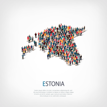 Isometric set of styles, people, map of Estonia , country, web infographics concept of crowded space, flat 3d. Crowd point group forming a predetermined shape. Creative people.  illustration. Photo .3D illustration. White background . Isolated.