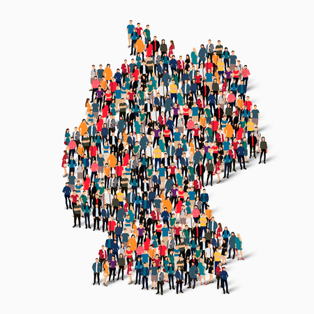 Isometric set of styles, people, map of Germany , country, web infographics concept of crowded space, flat 3d. Crowd point group forming a predetermined shape. Creative people.  illustration. Photo .3D illustration. White background . Isolated.