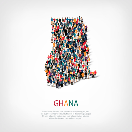 Isometric set of styles, people, map of Ghana , country, web infographics concept of crowded space, flat 3d. Crowd point group forming a predetermined shape. Creative people.  illustration. Photo .3D illustration. White background . Isolated.