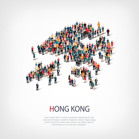 Isometric set of styles, people, map of Hong Kong, country, web infographics concept of crowded space, flat 3d. Crowd point group forming a predetermined shape. Creative people.  illustration. Photo .3D illustration. White background . Isolated.