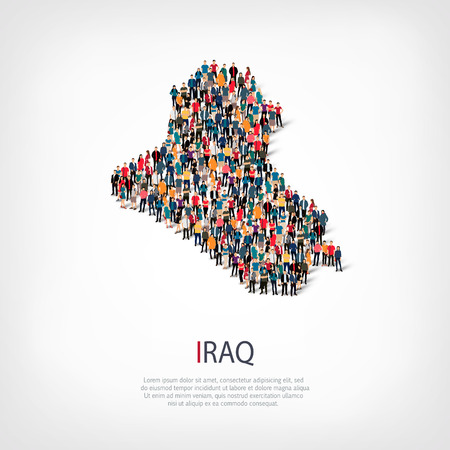Isometric set of styles, people, map of Iraq , country, web infographics concept of crowded space, flat 3d. Crowd point group forming a predetermined shape. Creative people.  illustration. Photo .3D illustration. White background . Isolated. Stock Photo