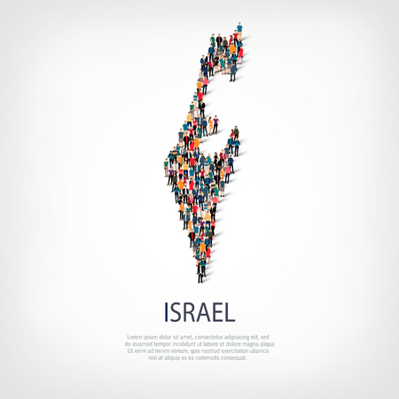 israel people: Isometric set of styles, people, map of Israel , country, web infographics concept of crowded space, flat 3d. Crowd point group forming a predetermined shape. Creative people.  illustration. Photo .3D illustration. White background . Isolated. Stock Photo
