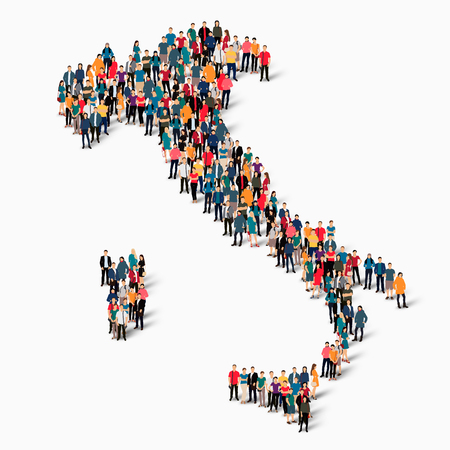 Isometric set of styles, people, map of Italy , country, web infographics concept of crowded space, flat 3d. Crowd point group forming a predetermined shape. Creative people.  illustration. Photo .3D illustration. White background . Isolated.