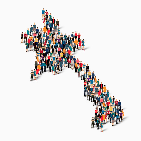 Isometric set of styles, people, map of Laos , country, web infographics concept of crowded space, flat 3d. Crowd point group forming a predetermined shape. Creative people.  illustration. Photo .3D illustration. White background . Isolated.