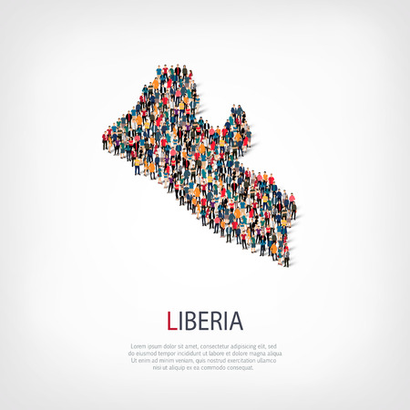 Isometric set of styles, people, map of Liberia , country, web infographics concept of crowded space, flat 3d. Crowd point group forming a predetermined shape. Creative people.  illustration. Photo .3D illustration. White background . Isolated.