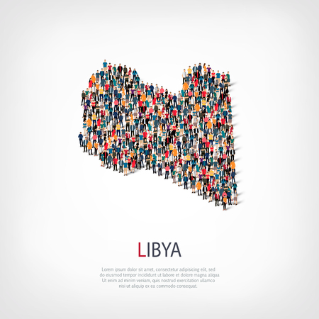 Isometric set of styles, people, map of Libya , country, web infographics concept of crowded space, flat 3d. Crowd point group forming a predetermined shape. Creative people.  illustration. Photo .3D illustration. White background . Isolated.