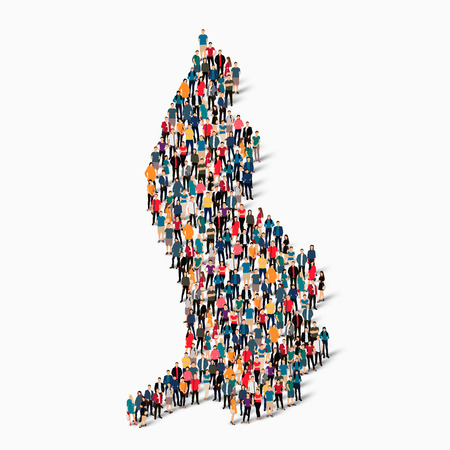 Isometric set of styles, people, map of liechtenstein , country, web infographics concept of crowded space, flat 3d. Crowd point group forming a predetermined shape. Creative people.  illustration. Photo .3D illustration. White background . Isolated.