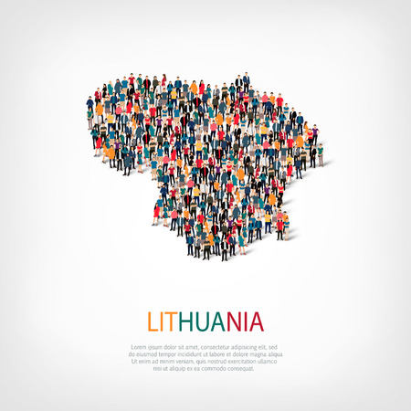 Isometric set of styles, people, map of lithuania , country, web infographics concept of crowded space, flat 3d. Crowd point group forming a predetermined shape. Creative people.  illustration. Photo .3D illustration. White background . Isolated.