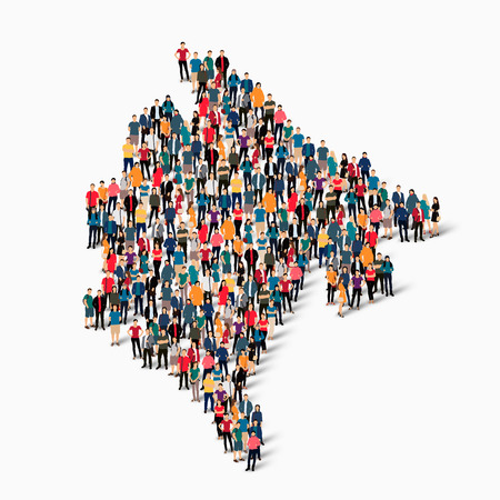 Isometric set of styles, people, map of Montenegro , country, web infographics concept of crowded space, flat 3d. Crowd point group forming a predetermined shape. Creative people.  illustration. Photo .3D illustration. White background . Isolated. Stock Photo