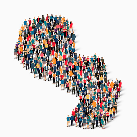 bandera de paraguay: Isometric set of styles, people, map of Paraguay , country, web infographics concept of crowded space, flat 3d. Crowd point group forming a predetermined shape. Creative people.  illustration. Photo .3D illustration. White background . Isolated.