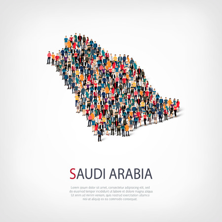 Isometric set of styles, people, map of Saudi Arabia , country, web infographics concept of crowded space, flat 3d. Crowd point group forming a predetermined shape. Creative people.  illustration. Photo .3D illustration. White background . Isolated.