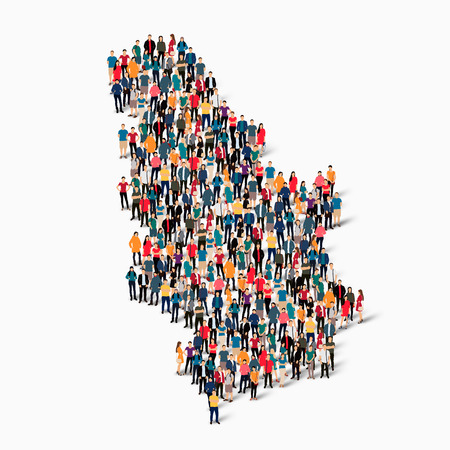 Isometric set of styles, people, map of Serbia , country, web infographics concept of crowded space, flat 3d. Crowd point group forming a predetermined shape. Creative people.  illustration. Photo .3D illustration. White background . Isolated.