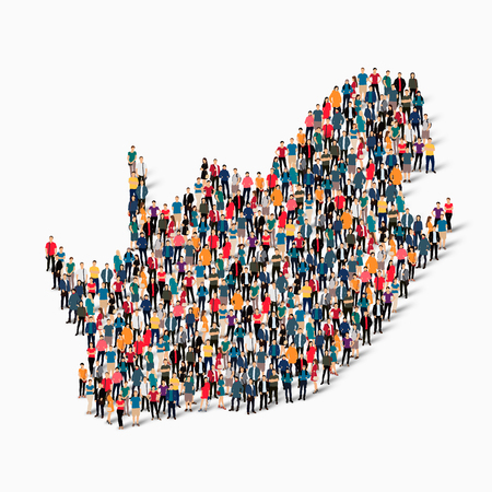 Isometric set of styles, people, map of South Africa , country, web infographics concept of crowded space, flat 3d. Crowd point group forming a predetermined shape. Creative people.  illustration. Photo .3D illustration. White background . Isolated. Stock Photo