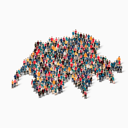 Isometric set of styles, people, map of Swizerland , country, web infographics concept of crowded space, flat 3d. Crowd point group forming a predetermined shape. Creative people.  illustration. Photo .3D illustration. White background . Isolated. Stock Photo