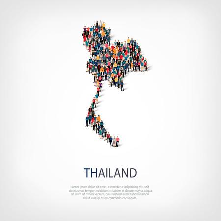 スタイル、人々 タイ国・混雑した空間、フラット 3 d の web インフォ グラフィックの概念の地図、等尺性のセットです。群衆ポイント グループ所定