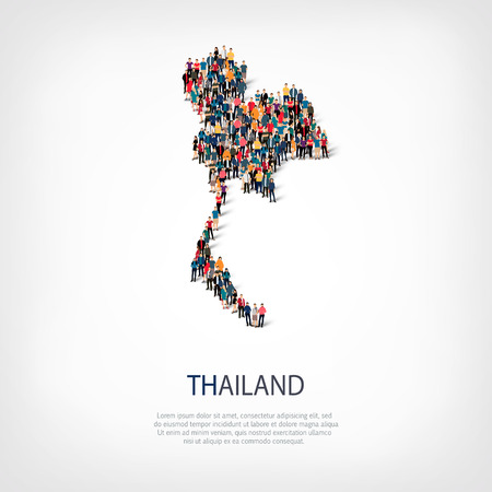 Isometric set of styles, people, map of Thailand , country, web infographics concept of crowded space, flat 3d. Crowd point group forming a predetermined shape. Creative people.  illustration. Photo .3D illustration. White background . Isolated. 版權商用圖片