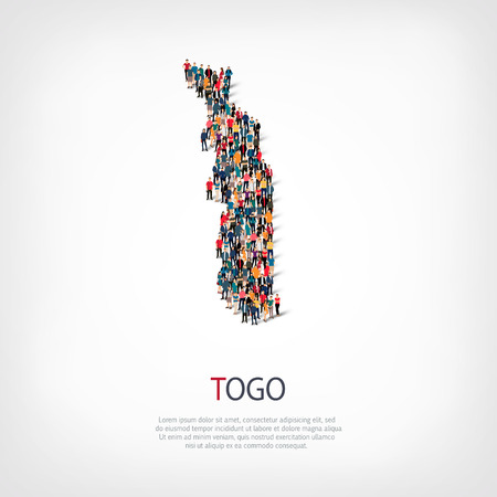 Isometric set of styles, people, map of Togo , country, web infographics concept of crowded space, flat 3d. Crowd point group forming a predetermined shape. Creative people.  illustration. Photo .3D illustration. White background . Isolated.