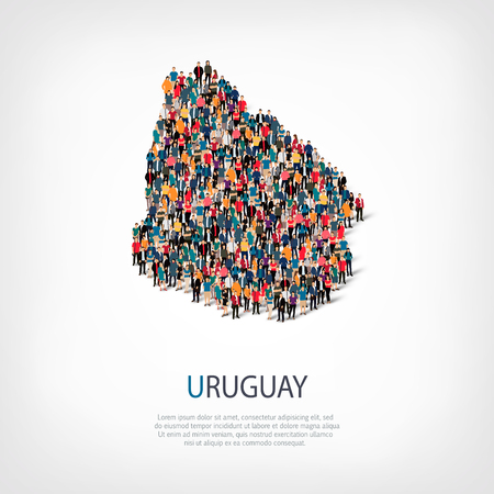 Isometric set of styles, people, map of Uruguay , country, web infographics concept of crowded space, flat 3d. Crowd point group forming a predetermined shape. Creative people.  illustration. Photo .3D illustration. White background . Isolated. Stock Photo