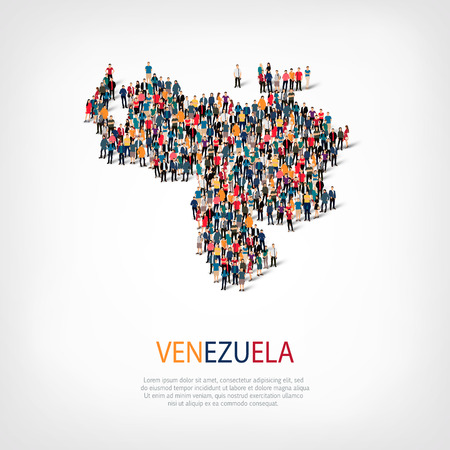 Isometric set of styles, people, map of Venezuela , country, web infographics concept of crowded space, flat 3d. Crowd point group forming a predetermined shape. Creative people.  illustration. Photo .3D illustration. White background . Isolated. Stock Photo