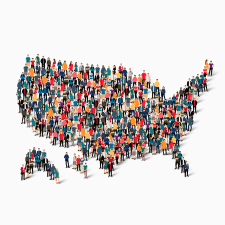 Isometric set of styles, people, map of United States of America , USA , country, web infographics concept of crowded space, flat 3d. Crowd point group forming a predetermined shape. Creative people.  illustration. Photo .3D illustration. White background