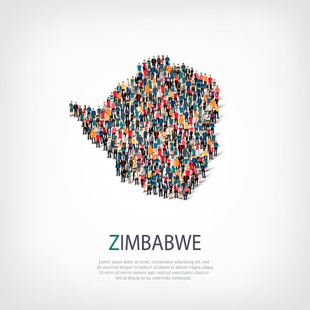Isometric set of styles, people, map of Zimbabwe , country, web infographics concept of crowded space, flat 3d. Crowd point group forming a predetermined shape. Creative people.  illustration. Photo .3D illustration. White background . Isolated. Stock Photo