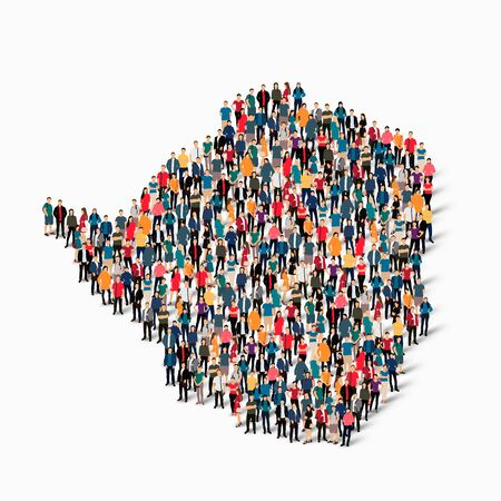 Isometric set of styles, people, map of Zimbabwe , country, web infographics concept of crowded space, flat 3d. Crowd point group forming a predetermined shape. Creative people. Vector illustration. Photo vector.3D illustration. White background . Isolate