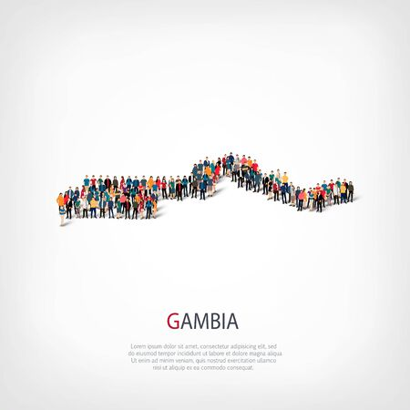 Isometric set of styles, people, map of Gambia , country, web infographics concept of crowded space, flat 3d. Crowd point group forming a predetermined shape. Creative people. Vector illustration. Photo vector.3D illustration. White background . Isolated.