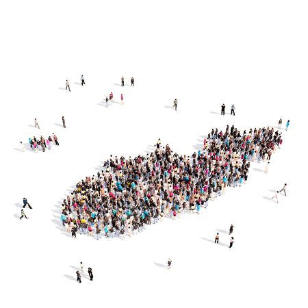 personas reunidas: Large and creative group of people gathered together in the form of a map Alderney, a map of the world. 3D illustration, isolated against a white background. 3D-rendering.