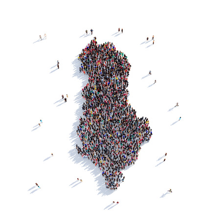 Large and creative group of people gathered together in the form of a map Albania, a map of the world. 3D illustration, isolated against a white background. 3D-rendering. Stock Photo